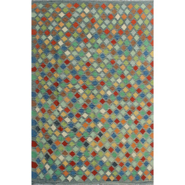 Corda Hand-Knotted Wool Gray/Green Area Rug by Bungalow Rose