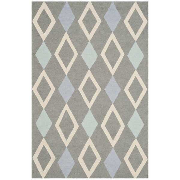 Claro Diamonds Hand-Tufted Gray Area Rug by Harriet Bee