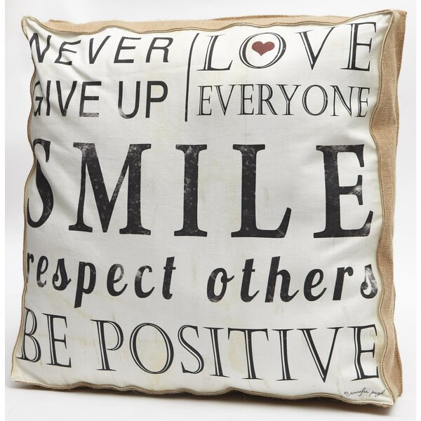 Never Give Up Word Throw Pillow by Cape Craftsmen