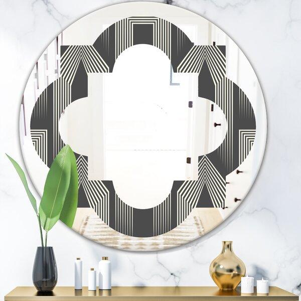Quatrefoil Mimimal Design III Eclectic Frameless Wall Mirror