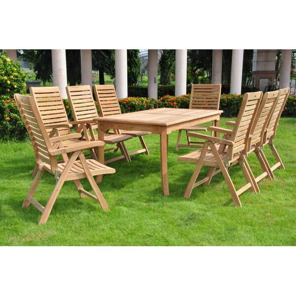 Leroy Luxurious 9 Piece Teak Dining Set by Rosecliff Heights