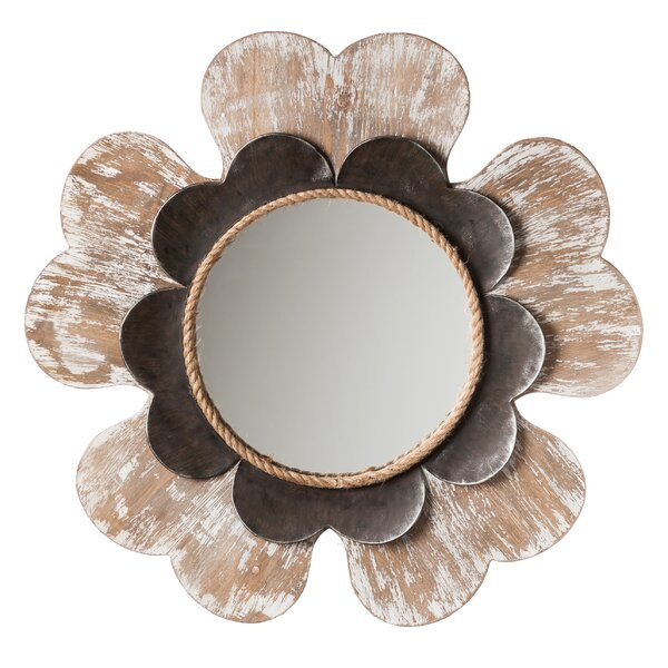 Brown and Black Flower Shaped Framed Wall Mirror by Latitude Run