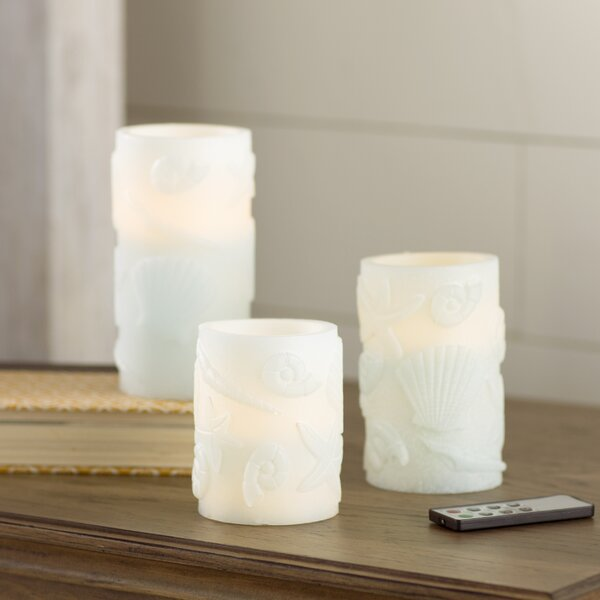 3 Piece Seashell Embossed Flameless Wax Pillar Candle Set with Remote by Highland Dunes