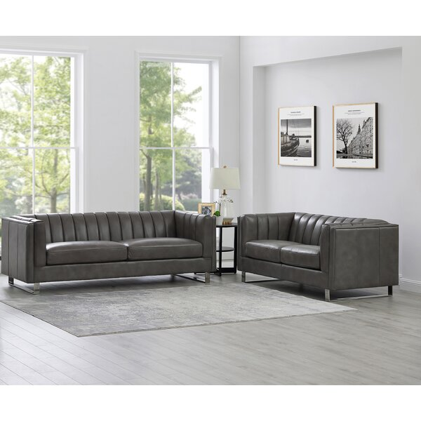 Caple 2 Piece Leather Living Room Set By Mercer41