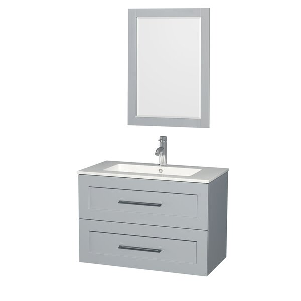 Olivia 36 Single Dove Gray Bathroom Vanity Set with Mirror by Wyndham Collection