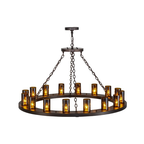 Caviness 16 - Light Candle Style Wagon Wheel Chandelier By Loon Peak