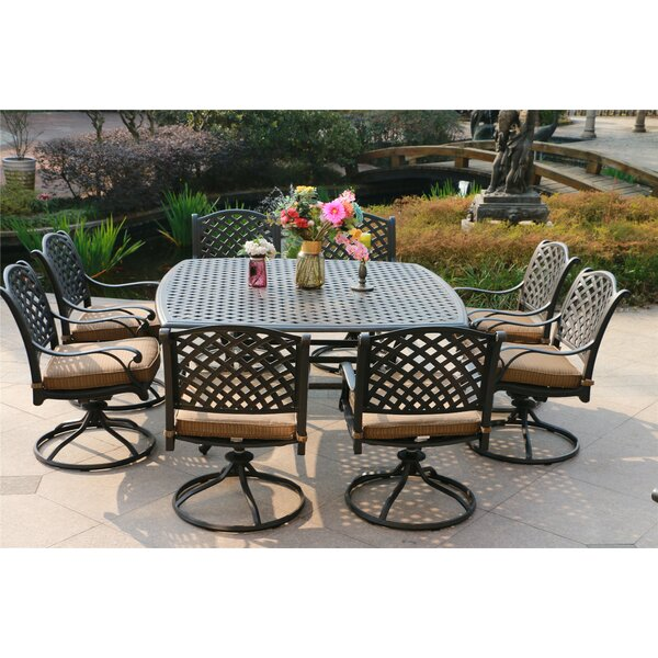 Bankhead Aluminum 9 Piece Dining Set with Cushions by Canora Grey