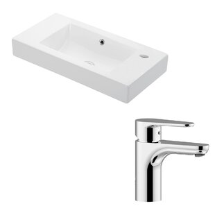 Read Reviews Minimal Ceramic Ceramic Rectangular Vessel Bathroom Sink with Faucet and Overflow ByWS Bath Collections