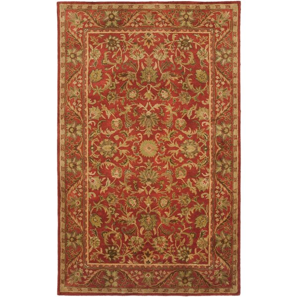 Dunbar Hand-Woven Wool Red/Gold/Green Area Rug by Charlton Home