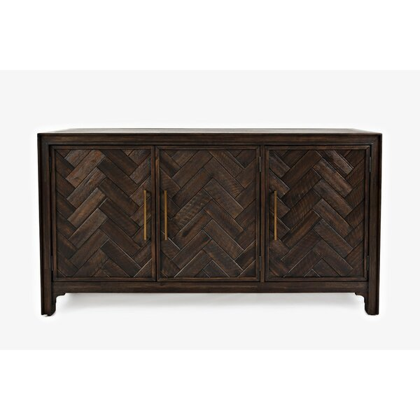 Tathana Wooden Chevron Pattern 3 Door Accent Cabinet by Union Rustic