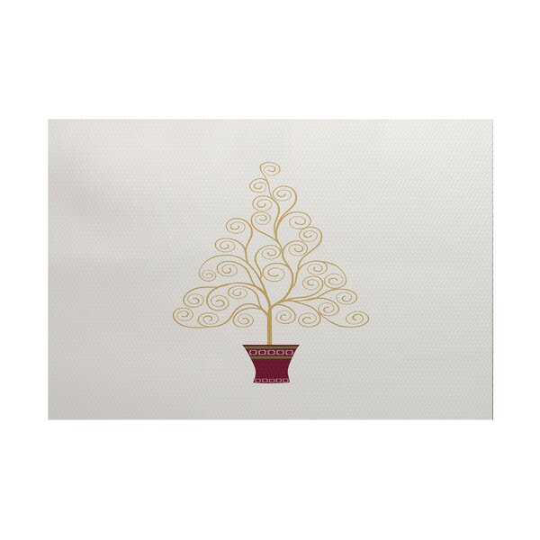 Filigree Tree Gold/Burgundy Indoor/Outdoor Area Rug by The Holiday Aisle