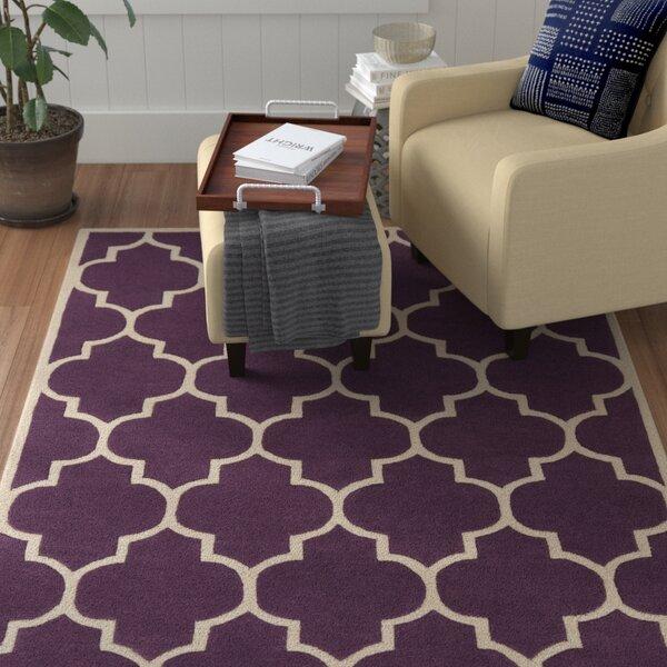 Ayler Purple Geometric Area Rug by Winston Porter