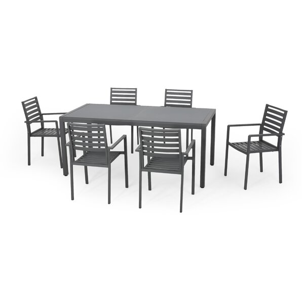 David Outdoor 7 Piece Dining Set by Latitude Run