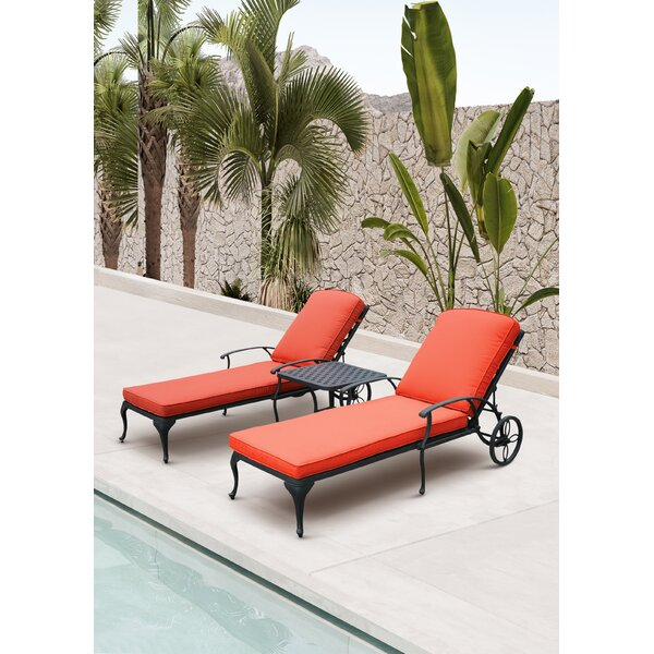 Pelcha Sun Lounger Set With Cushion and Table (Set of 3)