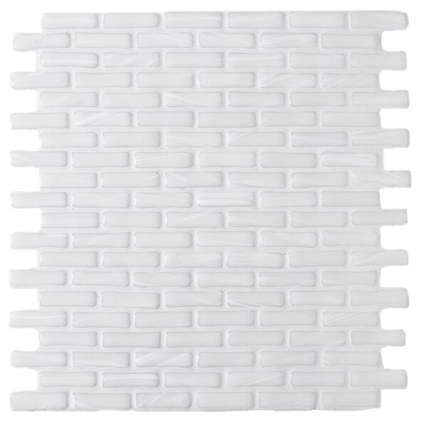 Kiln Tawny 1 x 2 Glass Mosaic Tile in White by Tile Focus