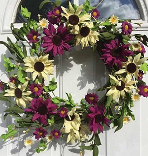 Coneflowers Echinacea Fields Silk Floral Wreath by Charlton Home