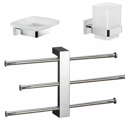 Elba 3 Piece Bathroom Hardware Set by Gedy by Nameeks