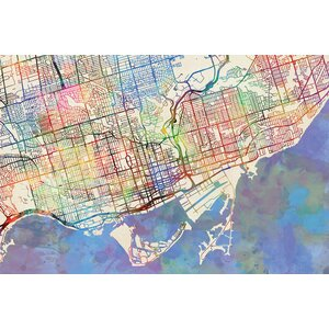 Urban Rainbow Street Map Series: Toronto, Canada Graphic Art on Wrapped Canvas by East Urban Home