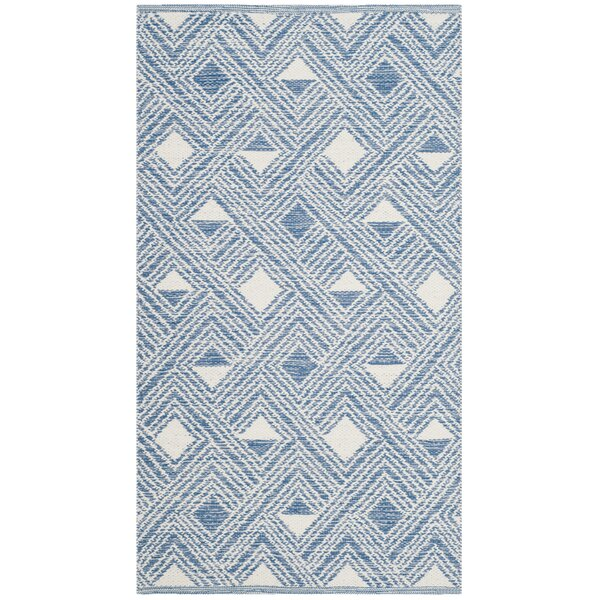 Dominica Hand-Woven Blue/Ivory Area Rug by Highland Dunes