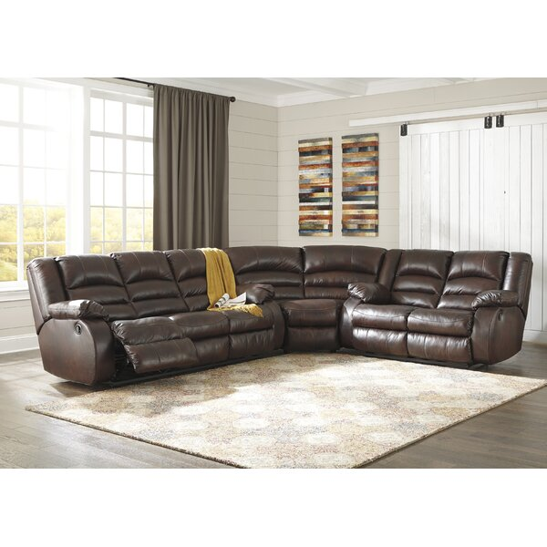 Lunceford Leather Reclining Sectional by Alcott Hill
