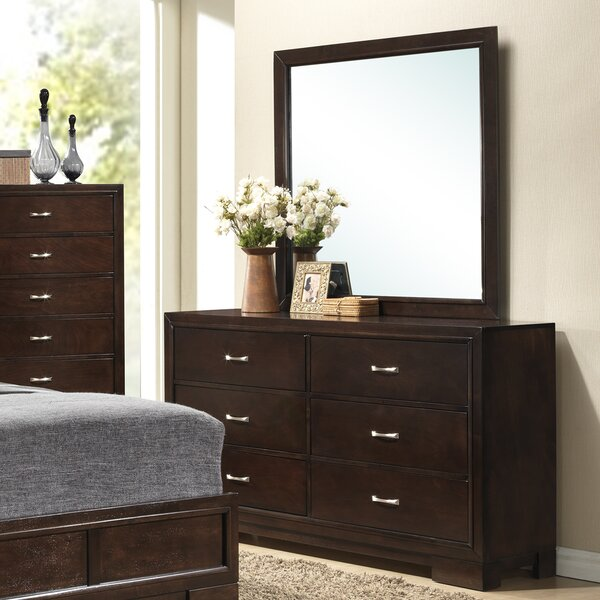 Peasely 6 Drawer Double Dresser with Mirror by Ebern Designs