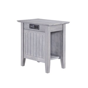 Glenni Rectangular Wood End Table with Storage by Highland Dunes
