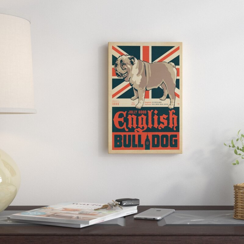 'English Bulldog' Graphic Art on Wrapped Canvas