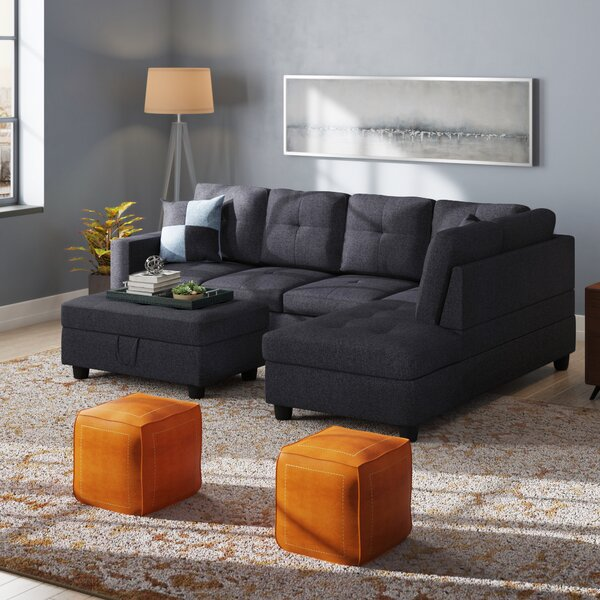 Mendoza Sectional with Ottoman by Ebern Designs