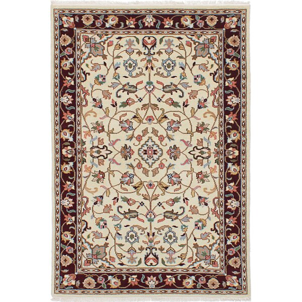 One-of-a-Kind Carice Hand-Knotted Wool Cream Area Rug by Isabelline