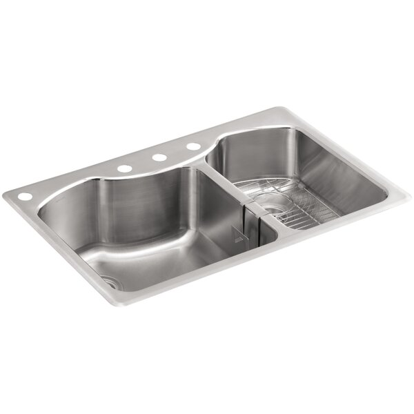 Octave 33 L x 22 W x 9-5/16 Top-Mount Large/Medium Double-Bowl Stainless Steel Kitchen Sink with Four-Faucet Holes by Kohler