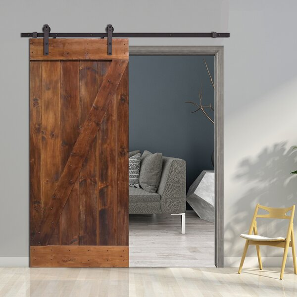 Z-Bar Solid Wood Room Divider Pine Slab Interior Barn Door by Calhome
