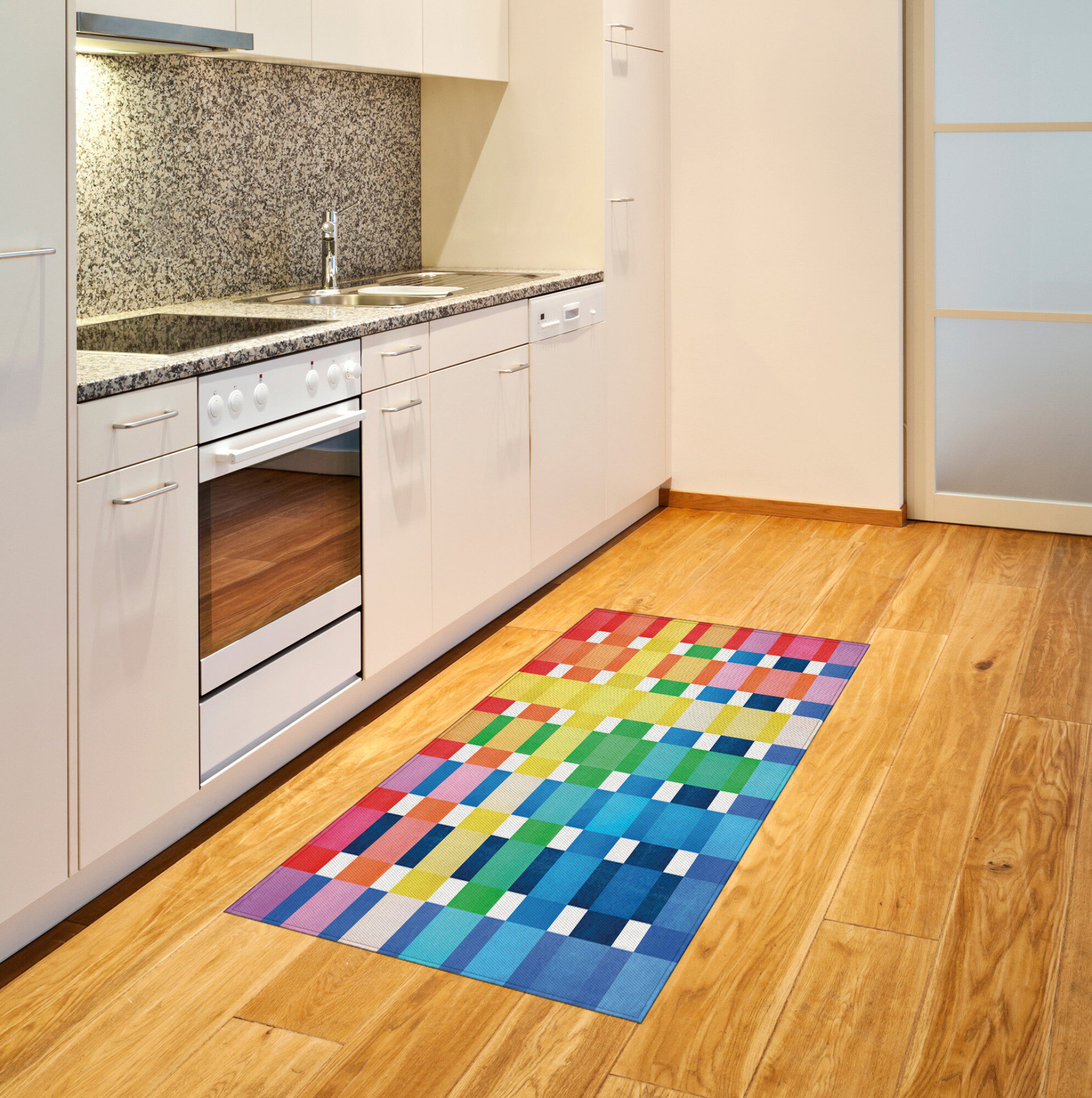 Ambesonne Checkered Area Rug Rainbow Colours Contiguous Big And Small Squares In Watercolor Style Geometrical Flat Woven Accent Rug For Living Room