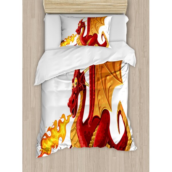 Dragon Funny Fire Spitting Winged Cartoon Mascot Playroom Childish Princess Illustration Duvet Set by East Urban Home