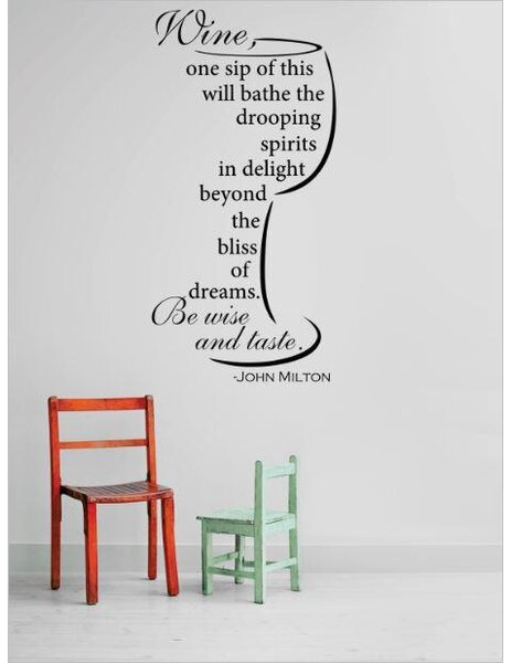 Wine, One Sip of This Will Bathe the Drooping Spirits In Delight Beyond the Bliss of Wall Decal by Design With Vinyl