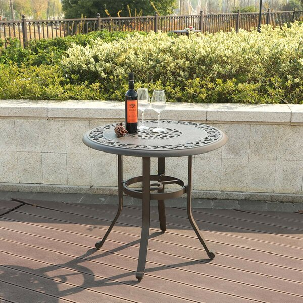 Cartagena Patio Outdoor Round Cast Aluminum Bistro Table by Fleur De Lis Living