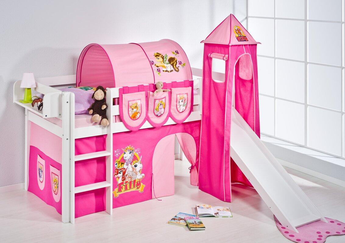 lilokids hochbett filly mit turm rutsche und vorhang 90. Black Bedroom Furniture Sets. Home Design Ideas