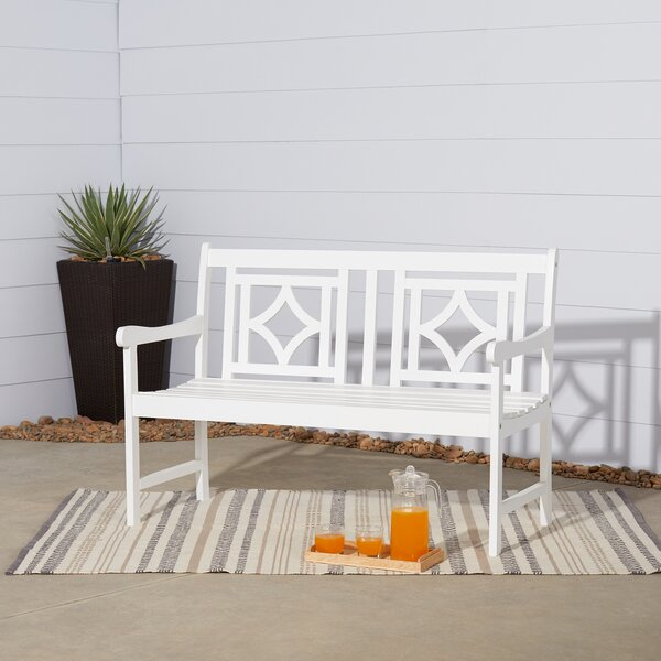 Amabel Patio Diamond Wooden Garden Bench by Beachcrest Home