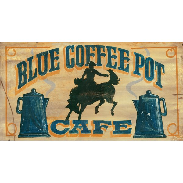 Blue Coffee Pot Vintage Advertisement Plaque by Millwood Pines