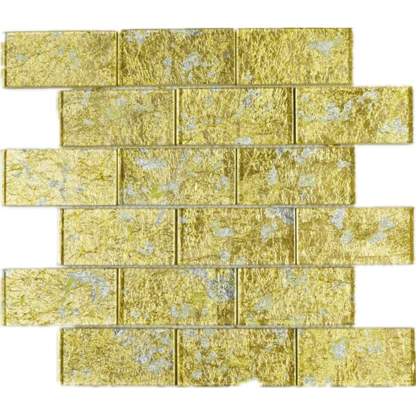Foil 2 x 4 Glass Tile in Gold by Multile