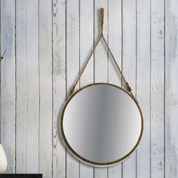 Rustic Round Vintage Accent Mirror by Longshore Tides