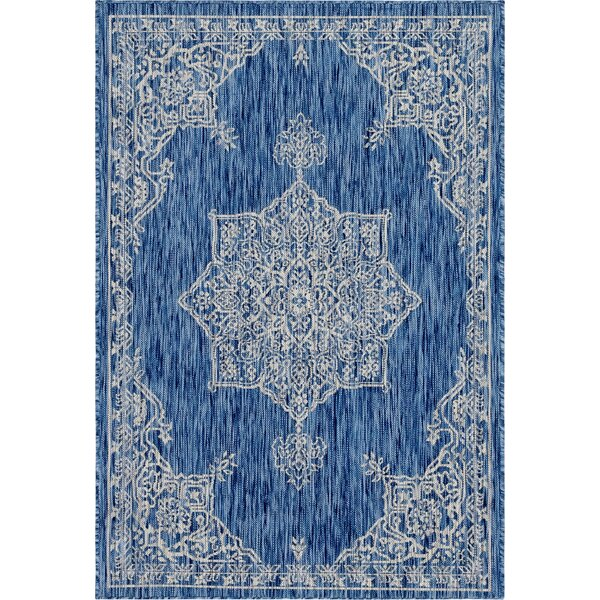 Cowhill Blue/Gray Indoor/Outdoor Area Rug by Charlton Home