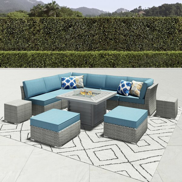 Damar 11 Piece Rattan Sectional Seating Group with Cushions by Latitude Run