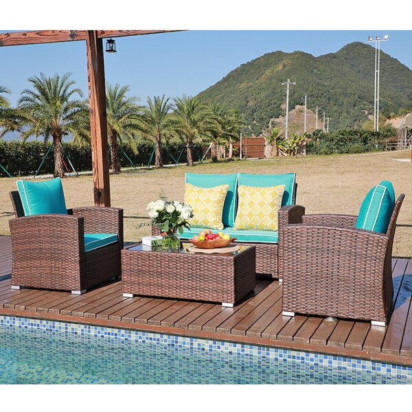 Belmeade 4 Piece Ratten Sectional Seating Group with Cushions by Ebern Designs