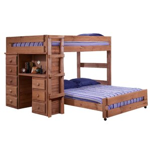 choe full over full lshaped bunk bed with desk and drawer