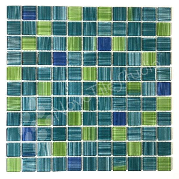 Alezio 1 x 1 Glass Mosaic Tile in Green by NovoTileStudio