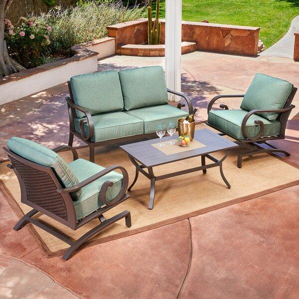 Kingston Seymour Milano 4 Piece Rattan Conversation Set With Cushions by Bayou Breeze