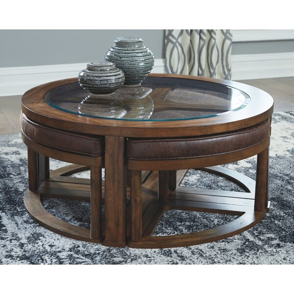 Discount Hutchinson Coffee Table With 4 Nested Stools