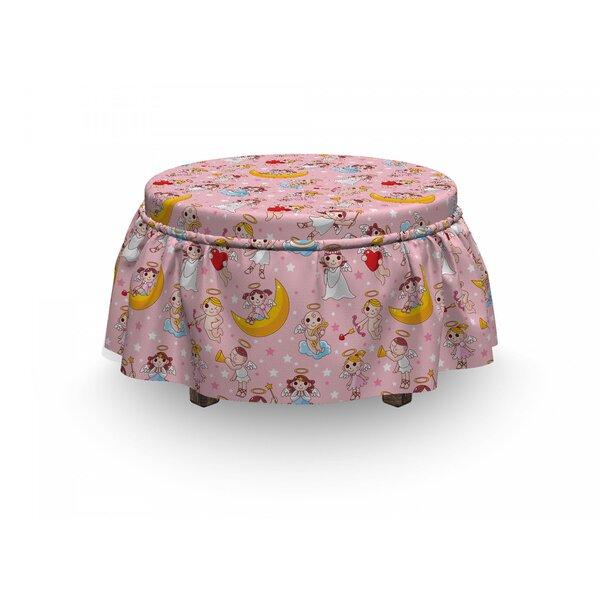 Angel Fairies Music Cheerful 2 Piece Box Cushion Ottoman Slipcover Set By East Urban Home