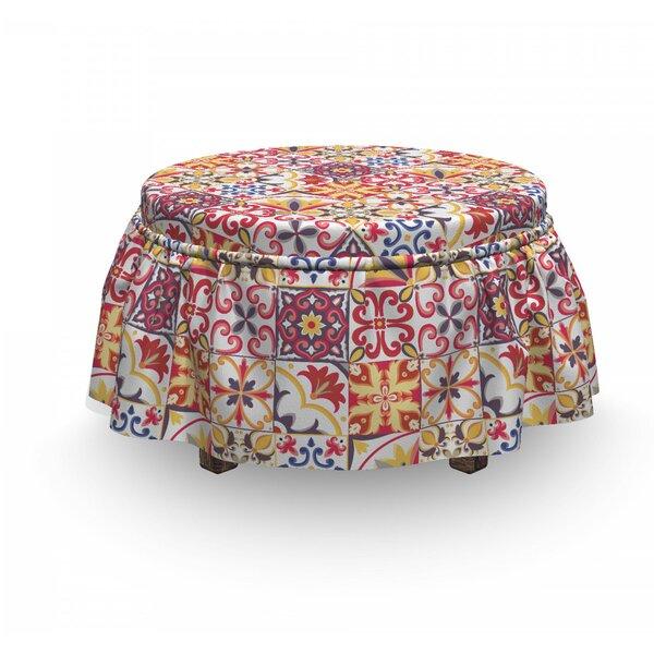 Moroccan Italian InspiMotif 2 Piece Box Cushion Ottoman Slipcover Set By East Urban Home