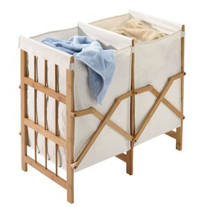 Laundry Bamboo Cotton 2 Compartment Laundry Hamper by Richards Homewares
